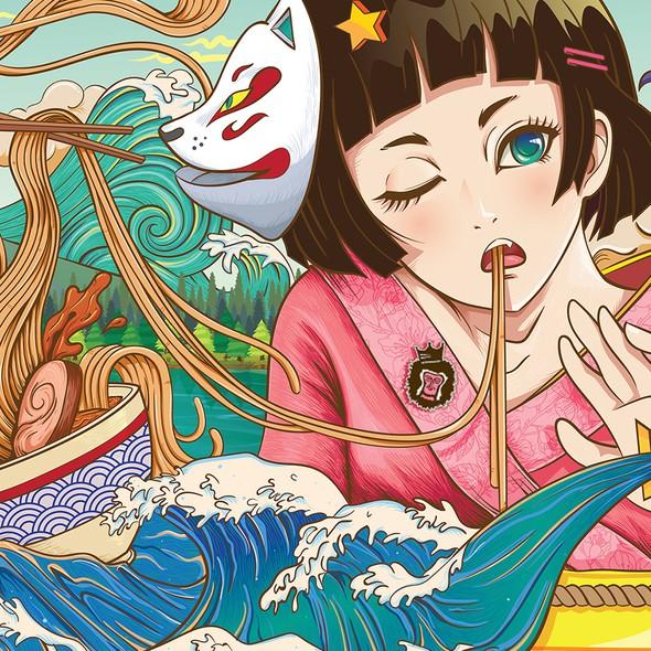 Anime illustration with the title 'Wall Art / Mural illustration - Mugen Noodle Bar'