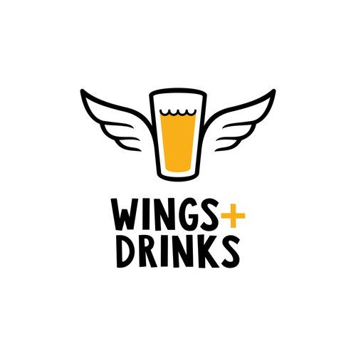 Youthful design with the title 'Wings+Drinks'