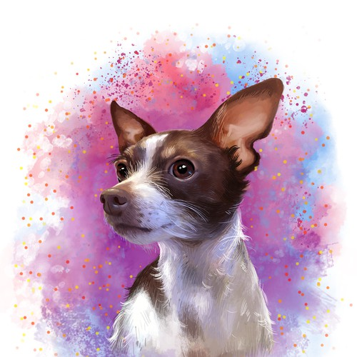 Painting design with the title 'Bitsy dog portrait'