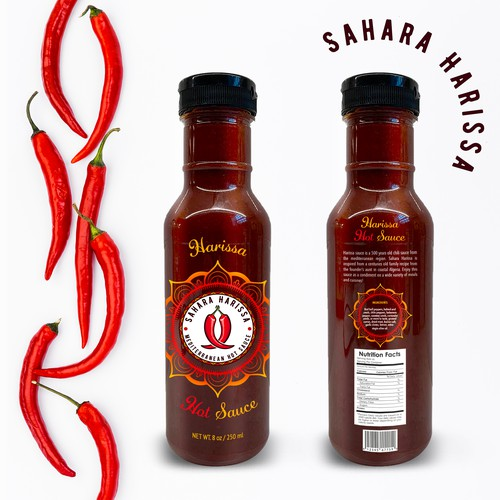 Sauce packaging with the title 'Hot Sauce Mediterranean Start-Up Brand'