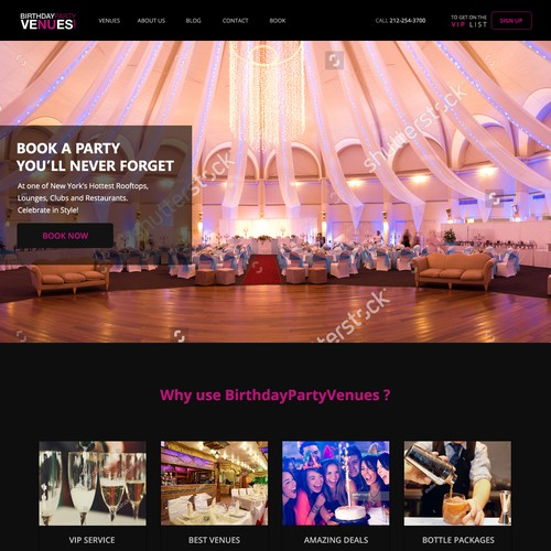 Venue design with the title 'Design for birthday party website'