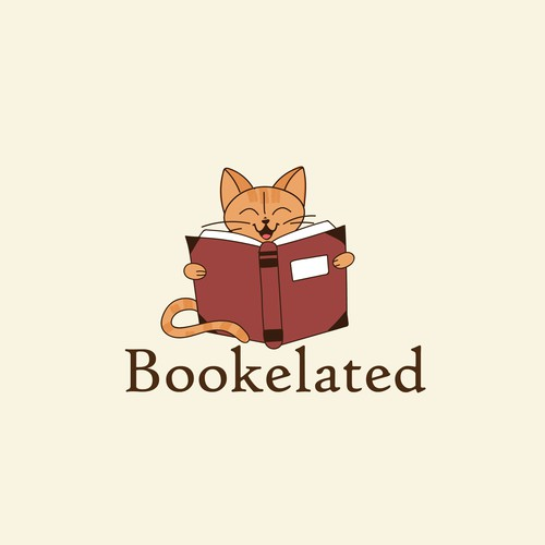 Bookmark logo with the title 'Happy educated cat'
