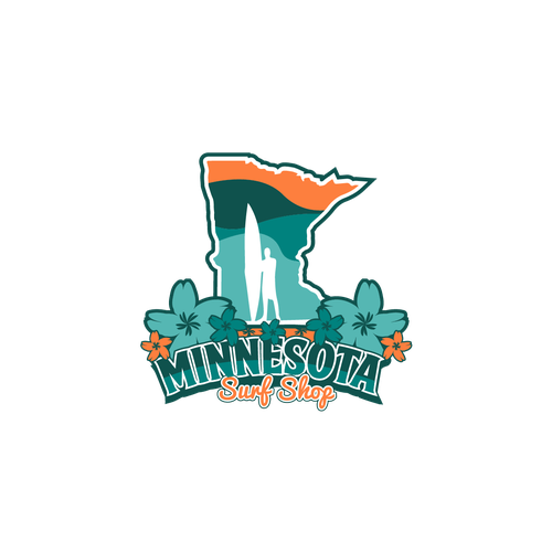 Surfer logo with the title 'Fun logo for Minnesota Surf Shop'