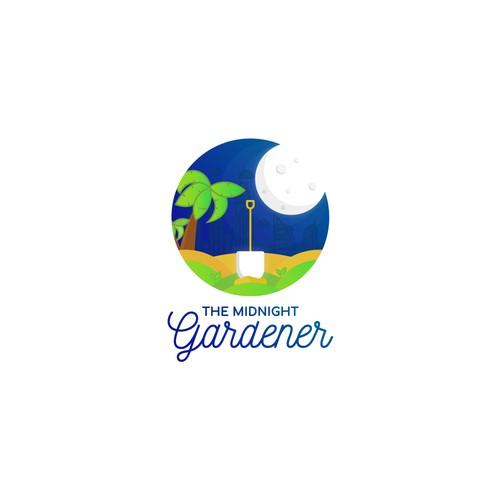 """Shovel logo with the title 'Logo for """"The Midnight Gardener"""" in Dubai'"""