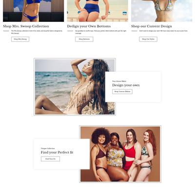 Design a home page for hand made bikini brand
