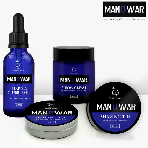 Stylish packaging with the title 'Packaging design for Man O War'