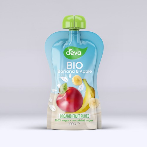 Pure label with the title 'Organic Fruit Puree'
