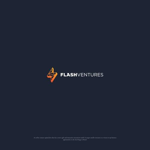 Lightning bolt design with the title 'Modern Logo for FLASH VENTURES'