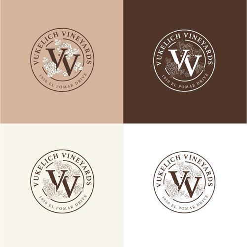 Vineyard design with the title 'Vukelich Vineyards'