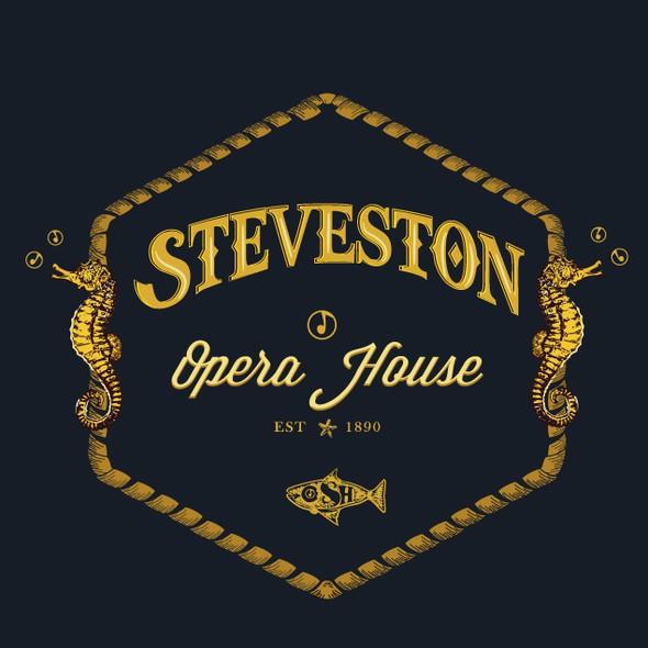 Seahorse design with the title 'Steveston Opera House'