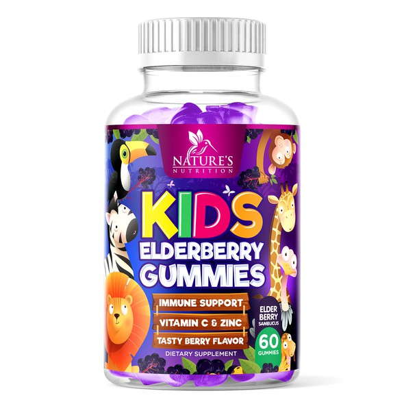Kids label with the title 'Nature's Nutrition Kids Elderberry Gummies'