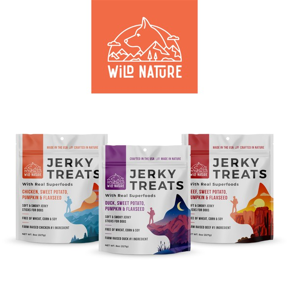 Jerky packaging with the title 'Logo, packaging desing and social media pack for dog treats'