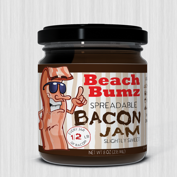 Bacon design with the title 'Fun and funky label for bacon jam.'