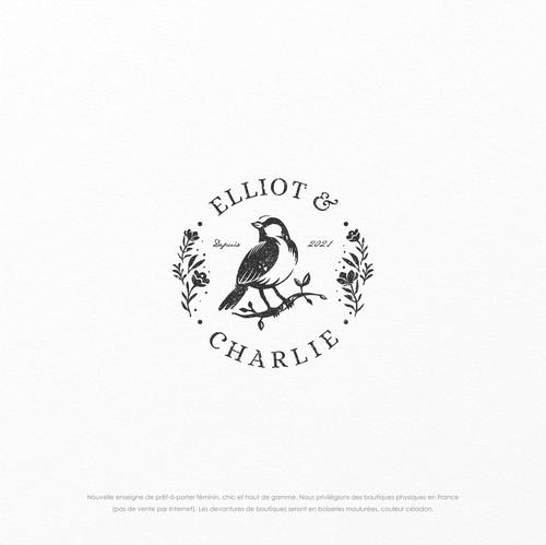 Feminine logo with the title 'Créez le logo d'une nouvelle enseigne nationale de prêt-à-porter féminin'