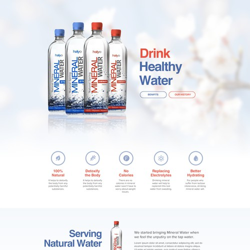 Water website with the title 'Need website for bottled Mineral Water'