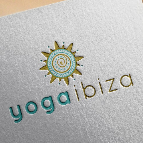 Relaxing design with the title 'Yoga Ibiza, a very nice combination!'