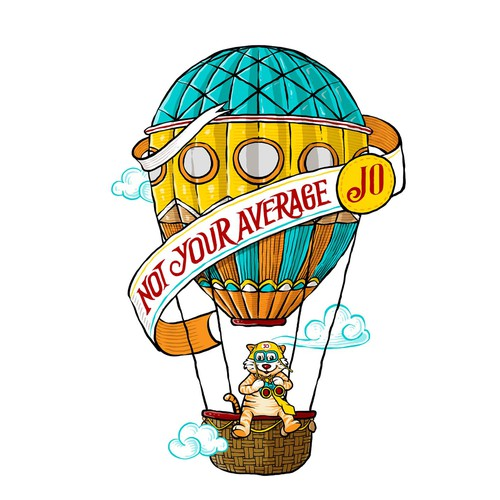 Tiger logo with the title 'Design a hot air balloon tattoo illustration for a fun communications co.'