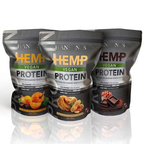 Pumpkin design with the title 'HEMP Vegan Protein'