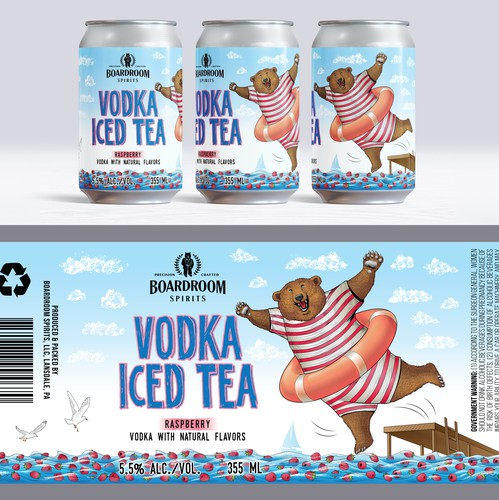 Cocktail design with the title 'Canned cocktail label, Raspberry'