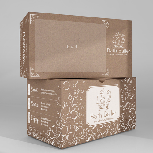 Kraft packaging with the title 'Subscription box shipping mailer design for Bath Baller'