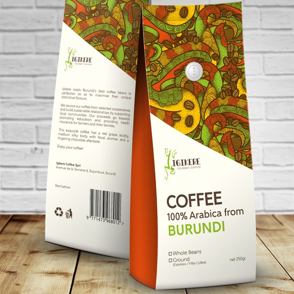 Asymmetrical design with the title 'Packaging design for Igikere Gourmet Coffee'