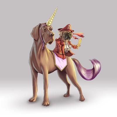 Cute pug pirate riding a unicorn Great Dane