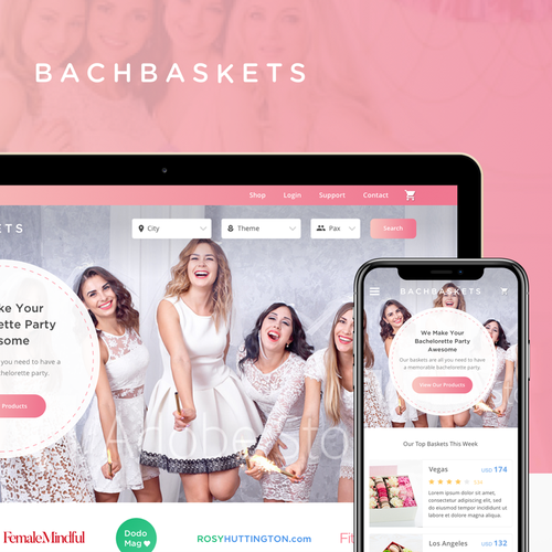 Pink website with the title 'Website UI design for BachBaskets '
