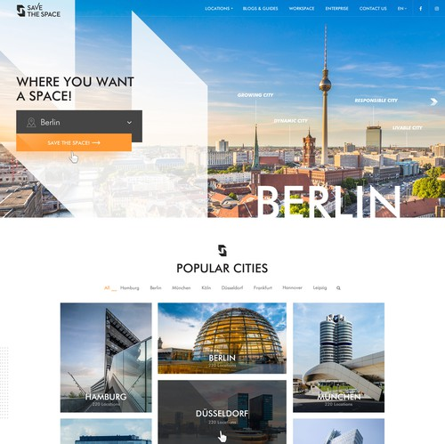 Blog website with the title 'Creative web design for city buildings blog'