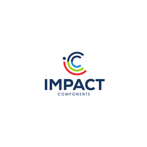 PC logo with the title 'Logo design for Impact Component'