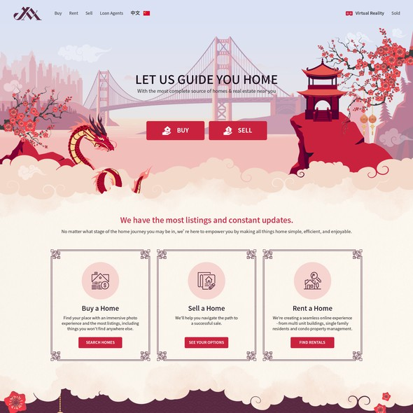 Graphic website with the title 'Design a cute & sophisticated Chinese Real Estate'