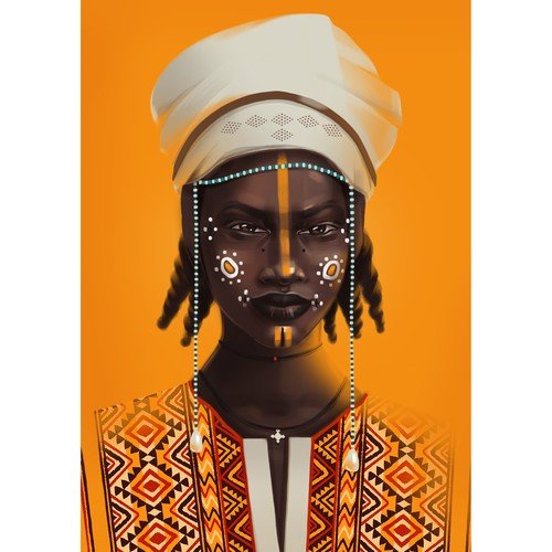 African illustration with the title 'portrait of african woman'