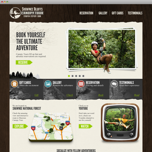 Fun design with the title 'Shawnee Bluffs Canopy Tour'