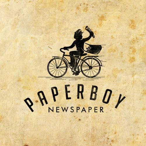 Bike shop logo with the title 'Vintage paperboy'