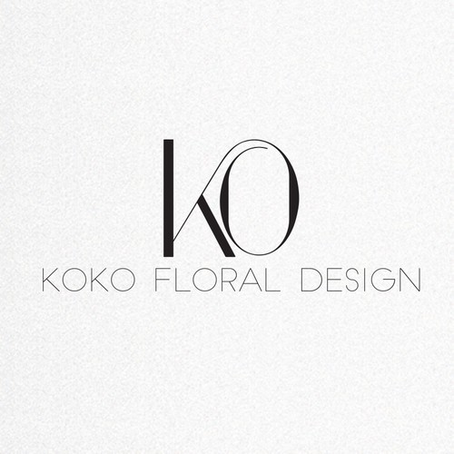 Calligraphy design with the title 'Modern Black and White Logo for floral designer (KOKO)'