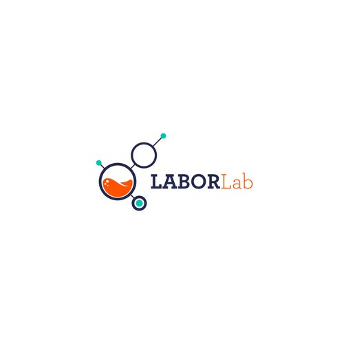 Turquoise logo with the title 'The Labor Lab logo proposal'