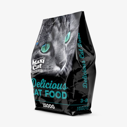 Black cat design with the title 'Maxi Cat Packaging Design'