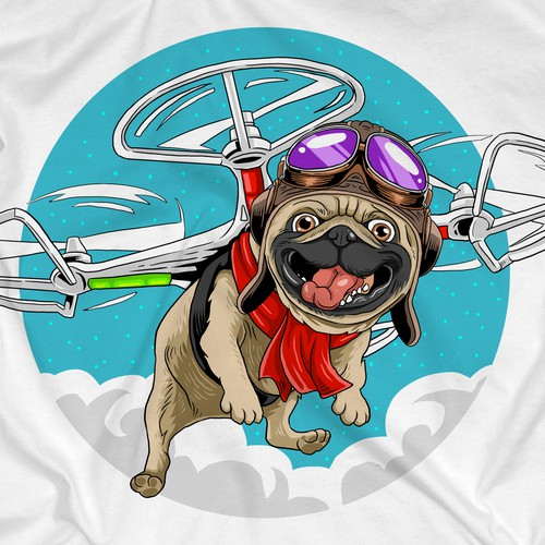 Pug design with the title 'Pug Flying Drone T-Shirt'