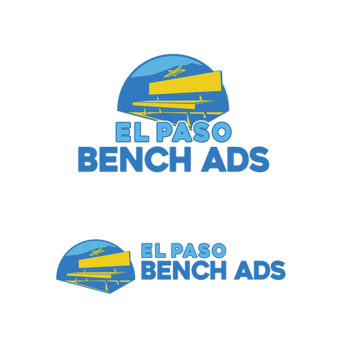 Bench design with the title 'Logo Concept for El Paso Bench Ads'