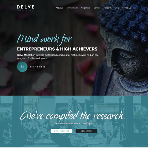 Calm design with the title 'Delve Meditation'