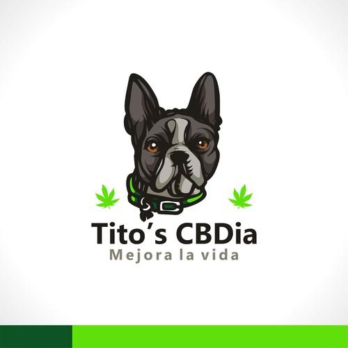 Cute dog design with the title 'Tito's CBDia | Mejora la vida'