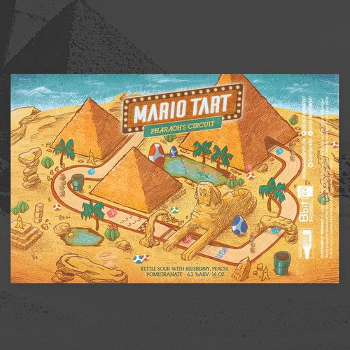 Can label with the title 'mario tart 8bit-pharaoh circuit'