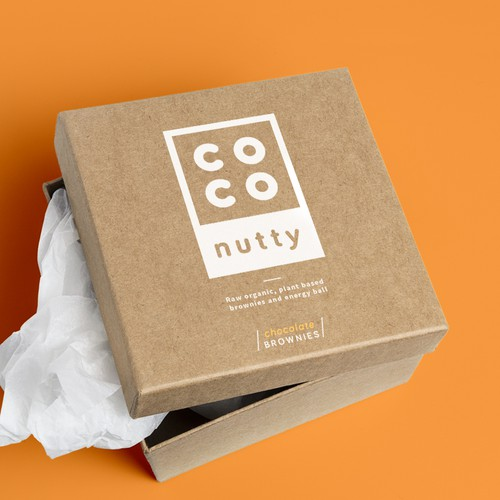 White and orange design with the title 'Minimalistic logo for coconutty'