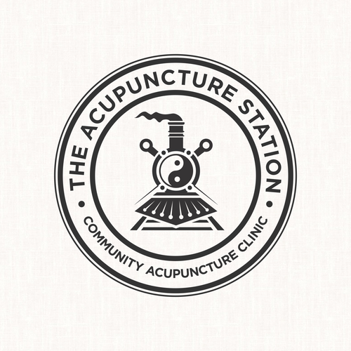 Therapeutic logo with the title 'Logo stamp concept for The Acupuncture Station'