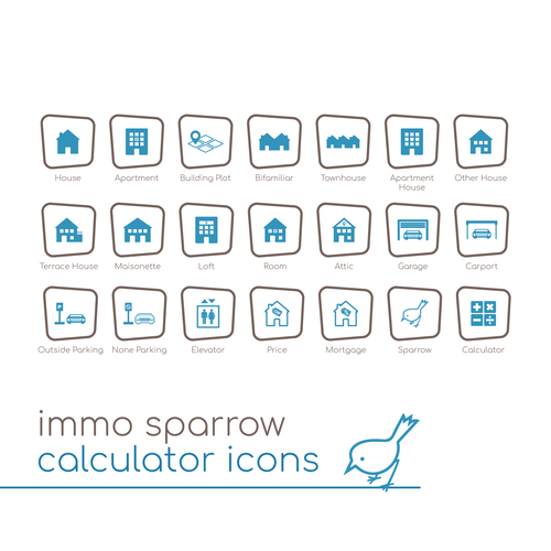 Calculator design with the title 'Icon Design for Immo Sparrow's Real Estate Calculator'