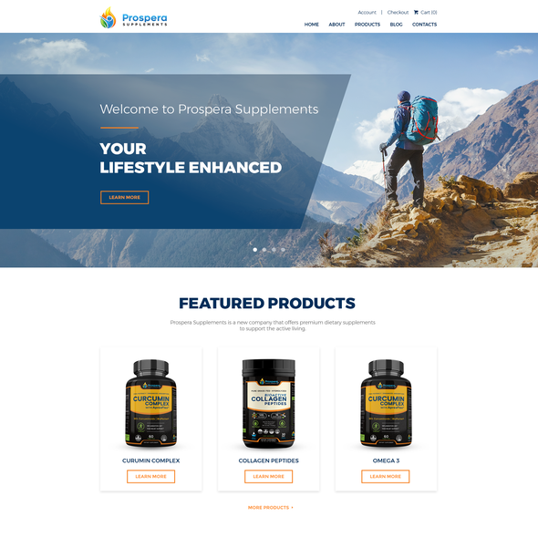 Fitness website with the title 'Website Design for a Supplements' company focused on athletic lifestyle'