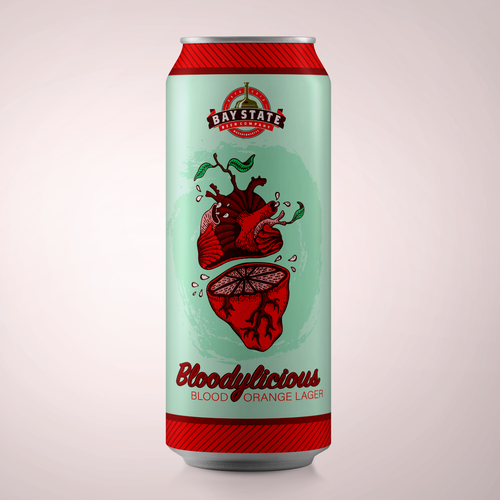 Beer can label with the title 'Bold label with custom artwork'
