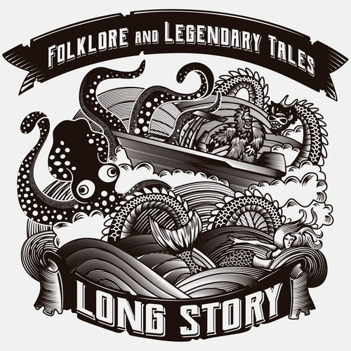 Kraken design with the title 'Long Story Illustration'