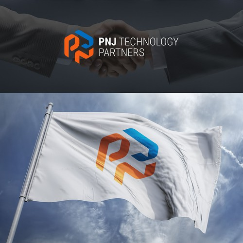 Paper logo with the title 'PNJ logo for IT company'