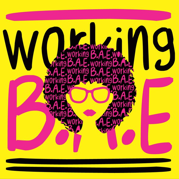 Pink and yellow logo with the title 'working b.a.e.'