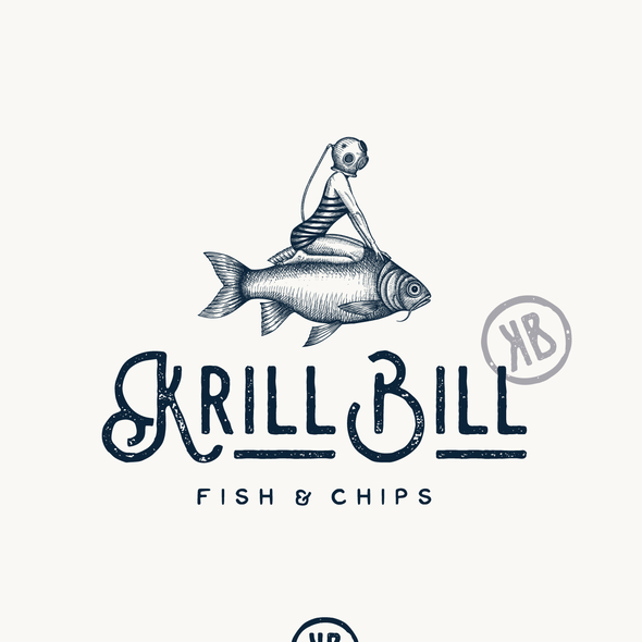 Fish brand with the title 'Logo design for Krill Bill restaurant'